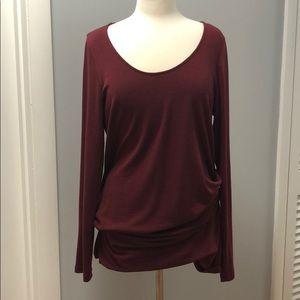 NWOT Halogen ruched burgundy tunic; size 1X